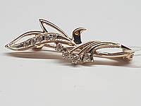 Золотая брошь с фианитами. Артикул 358098