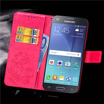 Чехол Clover для Samsung Galaxy J5 2015 J500 J500h книжка малиновый, фото 2