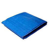 Тент синий, полиэтиленовый, плотностью 65г/м², с проушинами и двусторонней ламинацией, 4*5м