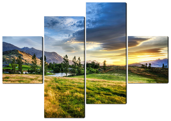 Модульная картина Горный пейзаж. Новая Зеландия