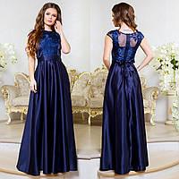 """Синее длинное атласное вечернее платье """"Прима"""", фото 1"""