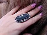 Моховый агат кольцо с натуральным агатом в серебре 17.5-18 размер, фото 2