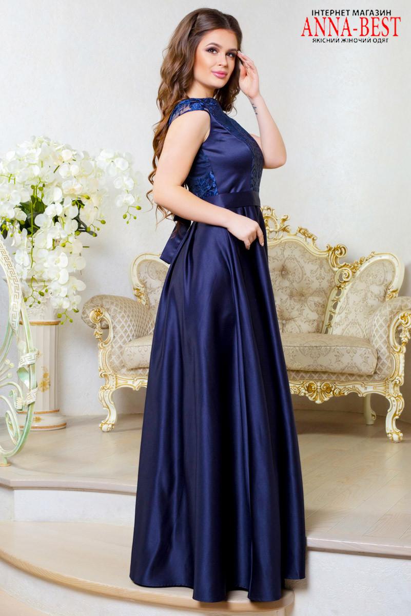 Синее длинное атласное выпускное, вечернее платье