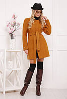 Шерстяное пальто без воротника П-337Ш горчица(40-46)