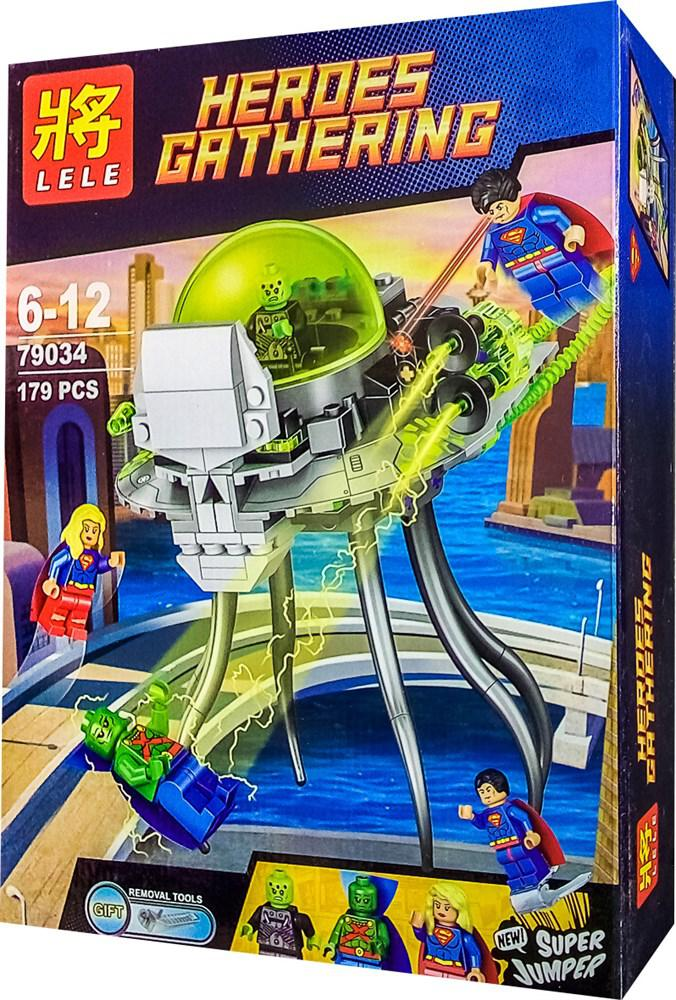 "Конструктор Lele 79034 (реплика Lego Super Heroes 76040) ""Атака Брейниака"", 179 дет"