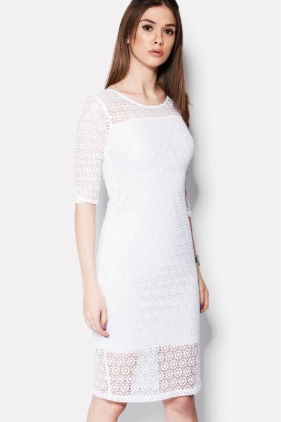 XS, S / Вечернее кружевное платье Alisa, белый