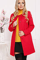 Шерстяное пальто без воротника П-337Ш (40-46)красное