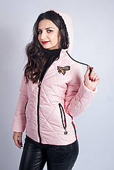 Коротка куртка для девушки светло-розовая