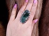 Агат мох крупное овал кольцо с моховым агатом 17.3 размер кольцо с камнем моховый агат в серебре Индия, фото 2