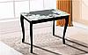 Стол обеденный Смарт  стеклом (ольха) Черный/цветы