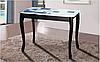 Стол обеденный Смарт  стеклом (ольха) Черный/кубики