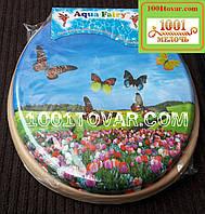 """Адаптер-сиденье мягкое с крышкой для унитаза Aqua Fairy """"Бабочки и тюльпаны"""""""