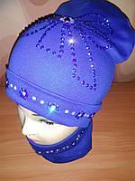 Детская шапка весенняя+ снуд