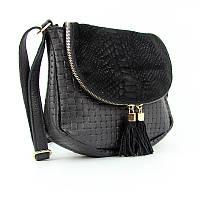 Черная замшевая сумочка Viladi маленькая кожаная через плечо, фото 1