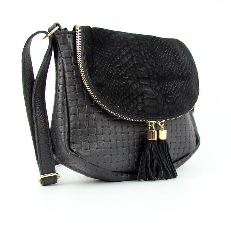 70be64554cd5 Черная замшевая сумочка Viladi маленькая кожаная через плечо - Интернет  магазин сумок SUMKOFF - женские и