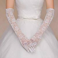 Свадебные длинные ажурные перчатки кремового (молочного/бежевого) цвета