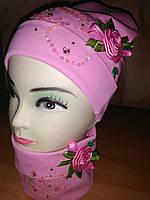 Набор для девочки шапка с хомутом