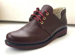 Женские ботинки кожаные бордовые