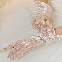 Короткие свадебные перчатки, сетка с кружевом и бантиком