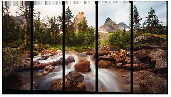 Модульная картина Горная река ( картина из 5-и частей)