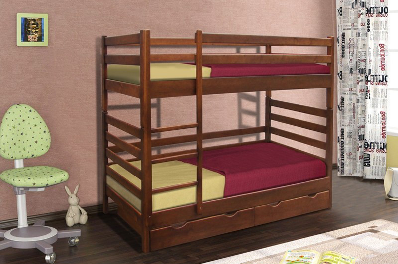 Двухъярусная детская кровать с ящиками из массива сосны  Засоня 80 Микс мебель, цвет на выбор
