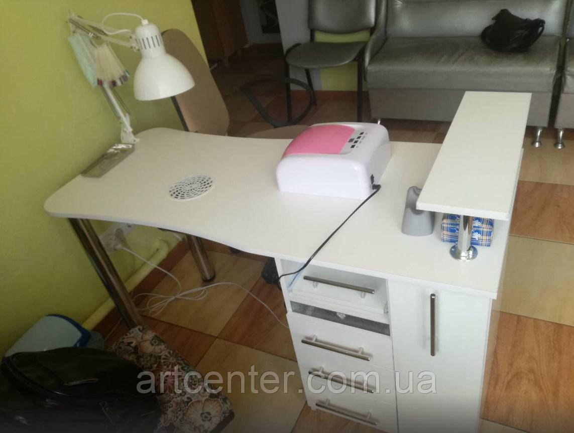 """Стол для маникюра белый с ящиком """"карго"""", стол для маникюра с полочкой для лаков"""