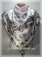 Атласный платок Гюльсой, белый с коричневым