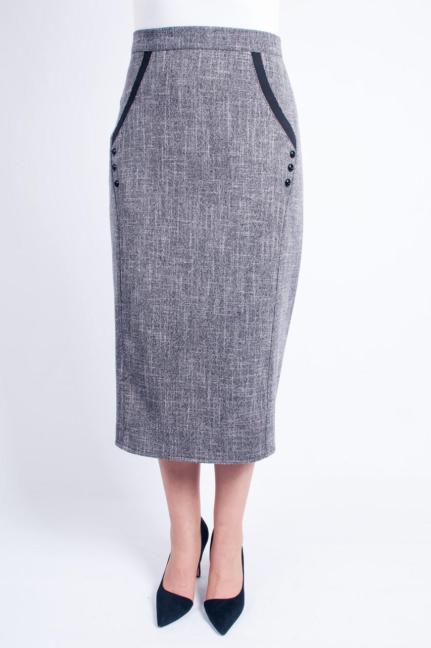 Длинная светло-серая юбка Божена