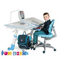 Растущий стол-трансформер с наклонной столешницей 119х73 см для детей от 5 до 16 лет ТМ FunDesk Amare Blue