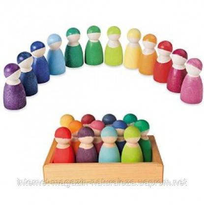 Деревянные развивающие игрушки 12 друзей цвета радуги Grimms