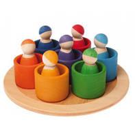 Деревянные развивающие игрушки Друзья радуги в чаше Grimms