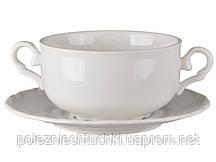 Тарелка бульонная с ручками 350 мл., фарфоровая белая с блюдцем Lefard