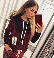 """Бархатный женский спортивный костюм """"Бордо"""", фото 1"""