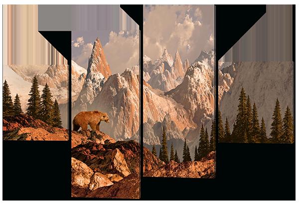 Модульная картина Зимний пейзаж (Медведь на фоне скал)