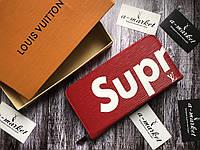 Кошелек клатч портмоне бумажник мужской женский красный Louis Vuitton Supreme премиум реплика