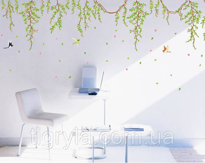 Интерьерная наклейка на стену Лианы с цветами