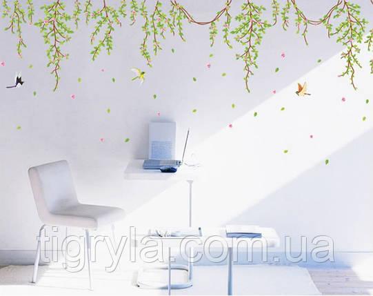 Интерьерная наклейка на стену Лианы с цветами, фото 2