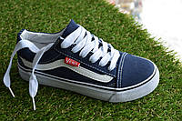 Детские подростковые низкие кеды Vans темно синие 31-37, копия, фото 1