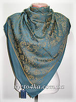 Двусторонний шелковый платок Хамелеон, бирюза