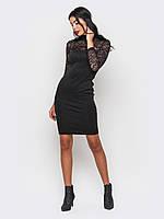 S, M, L / Коктейльное платье с гипюром Ararat, черный