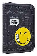 Пенал твердый одинарный с двумя клапанами  Smiley world, 20.5*13.5*4.2