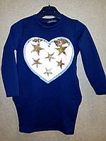 """Платье с карманами с пайетками для девочки """"Сердце"""" размер на рост 104-164 4-12 лет  цвета Турция"""