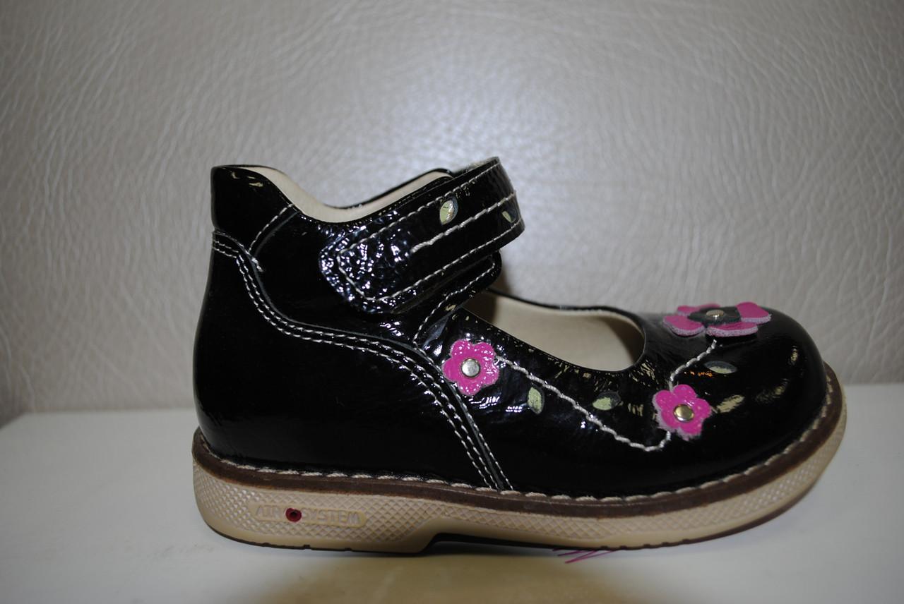 Туфлі для дівчинки Mimy Orthopedic чорні лак -