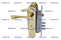 Ручка на планке с корпусом Rex+ ШерЛок - замок 1,7 + ручка AL 85-23 (золото) PB