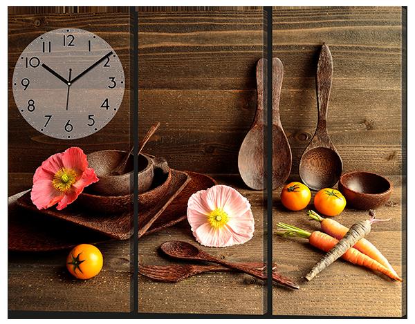Модульная картина с часами на кухню 94*70 см