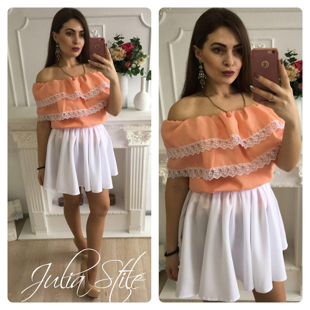 Костюм летний юбка и блузка с двойным воланом
