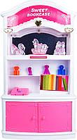 Книжный шкаф кукольный со звуковыми и световыми эффектами, розовый, QunFengToys