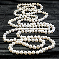 Жемчуг белый, Ø8*1,65 м., бусы, 344БСЖ, фото 1