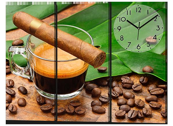 Модульная картина из трех частей Зерна кофе и сигара