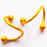 Твистер для пирсинга, диаметр 10 мм. Медицинская сталь, золотое анодирование.